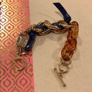Golden, crystal, tortoise and leather bracelet